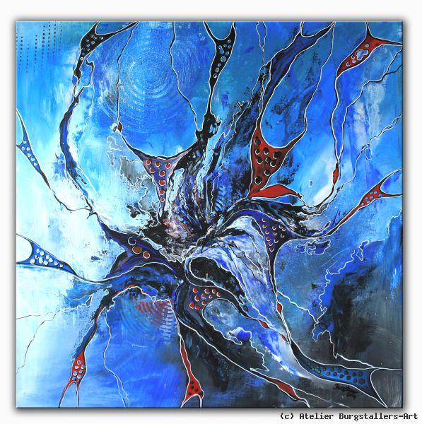 Kunst Gemälde abstrakte kunst blau kaufen blaues gemälde atelier burgstallers