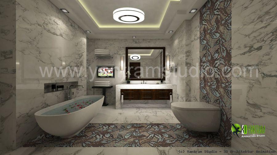 48D Bathroom Interior Design Rendering Von Yantram Studio 48D Cool 3D Bathroom Designs