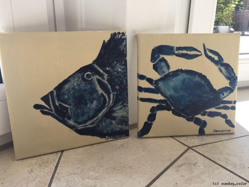 Krebs und fisch